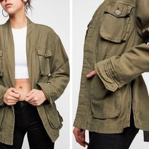 Free people green army cargo jacket M